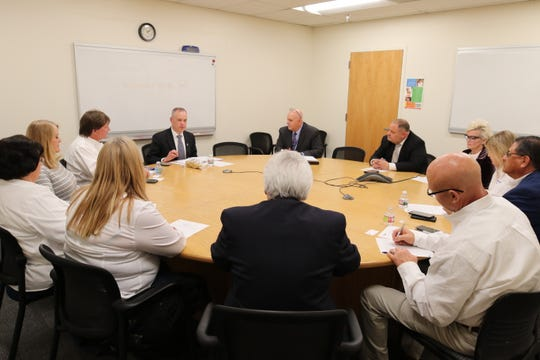 New Mexico Environment Department Cabinet Secretary James Kenney meets with members of the Carlsbad Chamber of Commerce, Jan. 28, 2019 in Santa Fe.