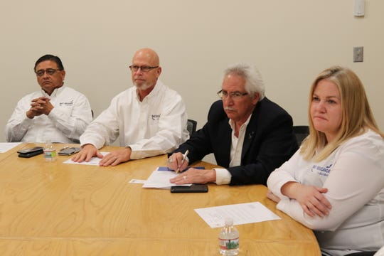 (left to right) Carlsbad City Councilor Eddie Rodriguez, Sendero Midstream Operations Manager Clint Cone, CEO of the Carlsbad Chamber of Commerce Robert Defer and Director of Keep Carlsbad Beautiful Mary Garwood meet with New Mexico Environment Department Cabinet Secretary James Kenney, Jan. 28, 2019 in Santa Fe.
