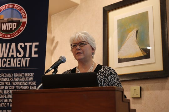 New Mexico State Rep. Cathrynn Brown makes opening remarks during the annual WIPP Legislative Breakfast, Jan. 28, 2019 at the Hotel Santa Fe.