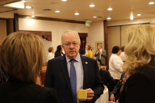New Mexico State Rep. Jim Townsend meets with Carlsbad leaders during the annual WIPP Legislative Breakfast, Jan. 28, 2019 at the Hotel Santa Fe.