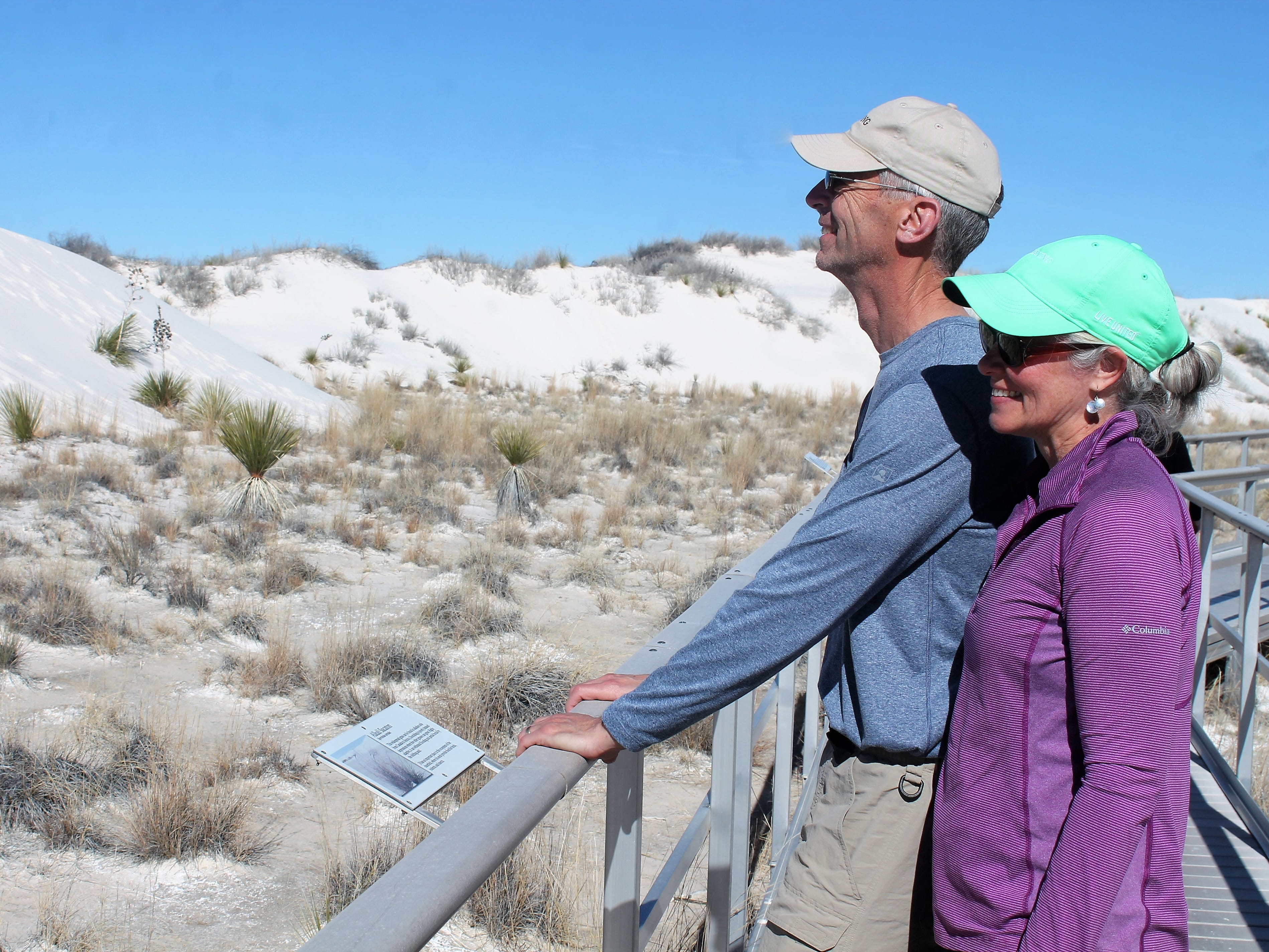 John and Becky Igel of Ft. Collins, Colo. on the Interdune Boardwalk at White Sands National Monument Monday.