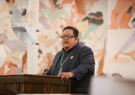 Navajo Nation Council Delegate Seth Damon presents his platform during the selection process for a speaker on Monday in Window Rock, Ariz.