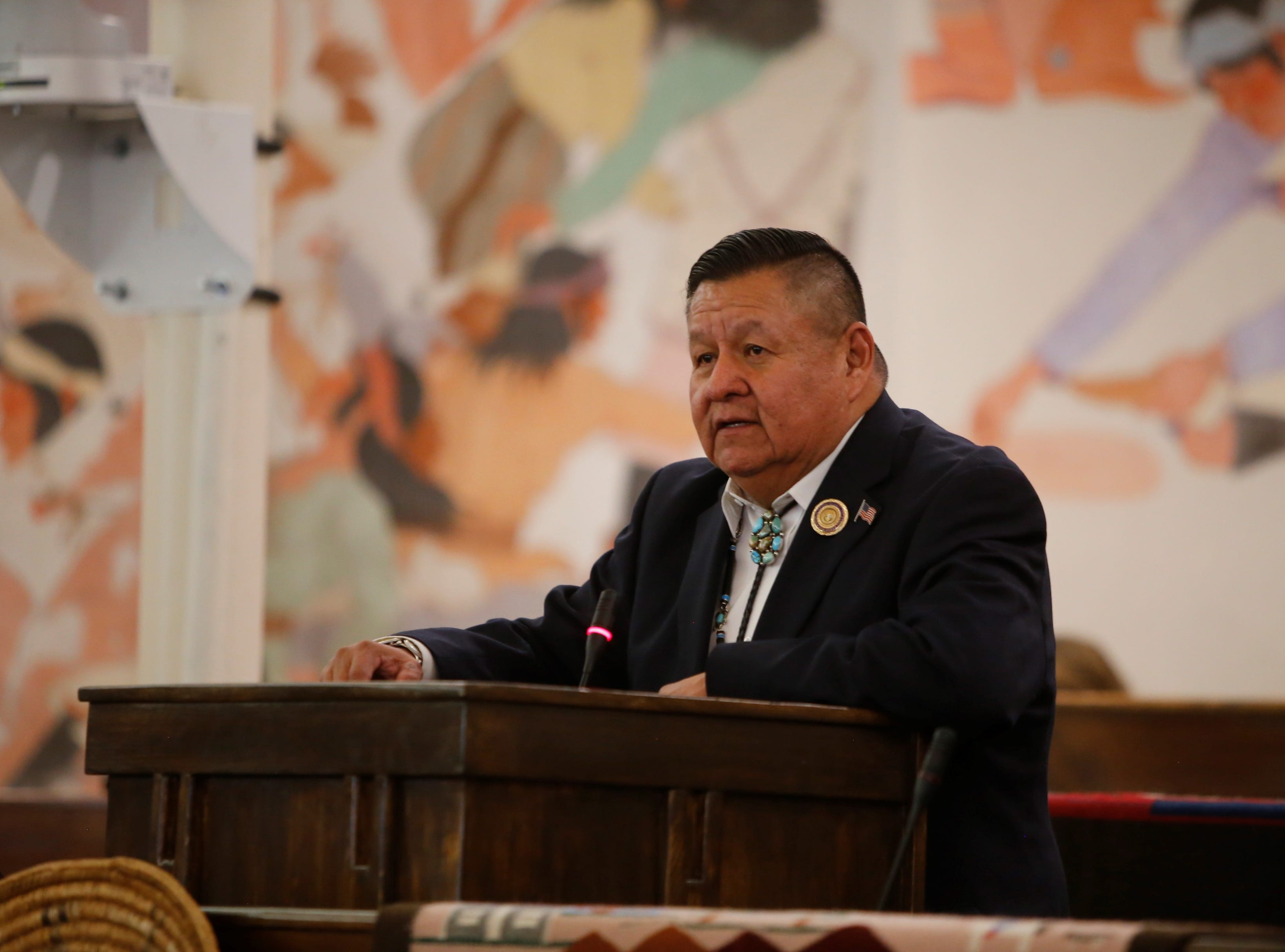 Delegate Jamie Henio presents his platform for service as speaker of the Navajo Nation Council at the winter session on Monday in Window Rock, Ariz.