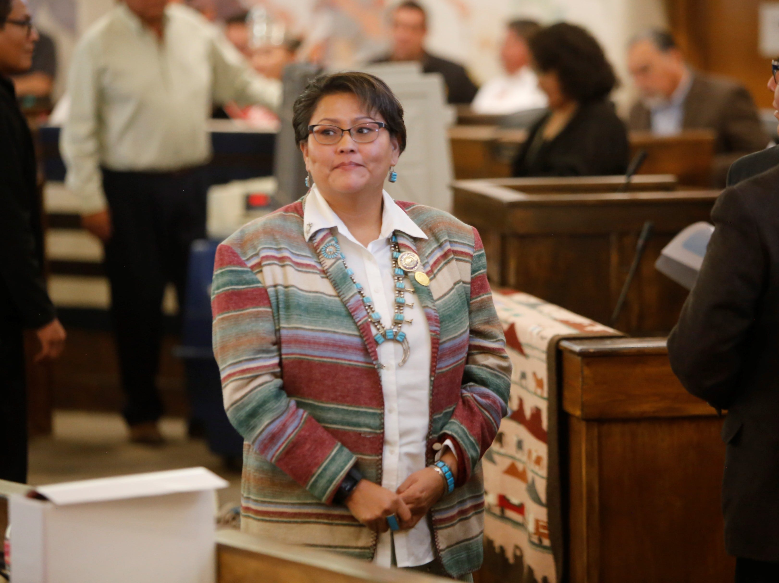 Delegate Eugenia Charles-Newton, who represents Shiprock Chapter, waits to vote for a speaker during the Navajo Nation Council's winter session on Monday in Window Rock, Ariz.