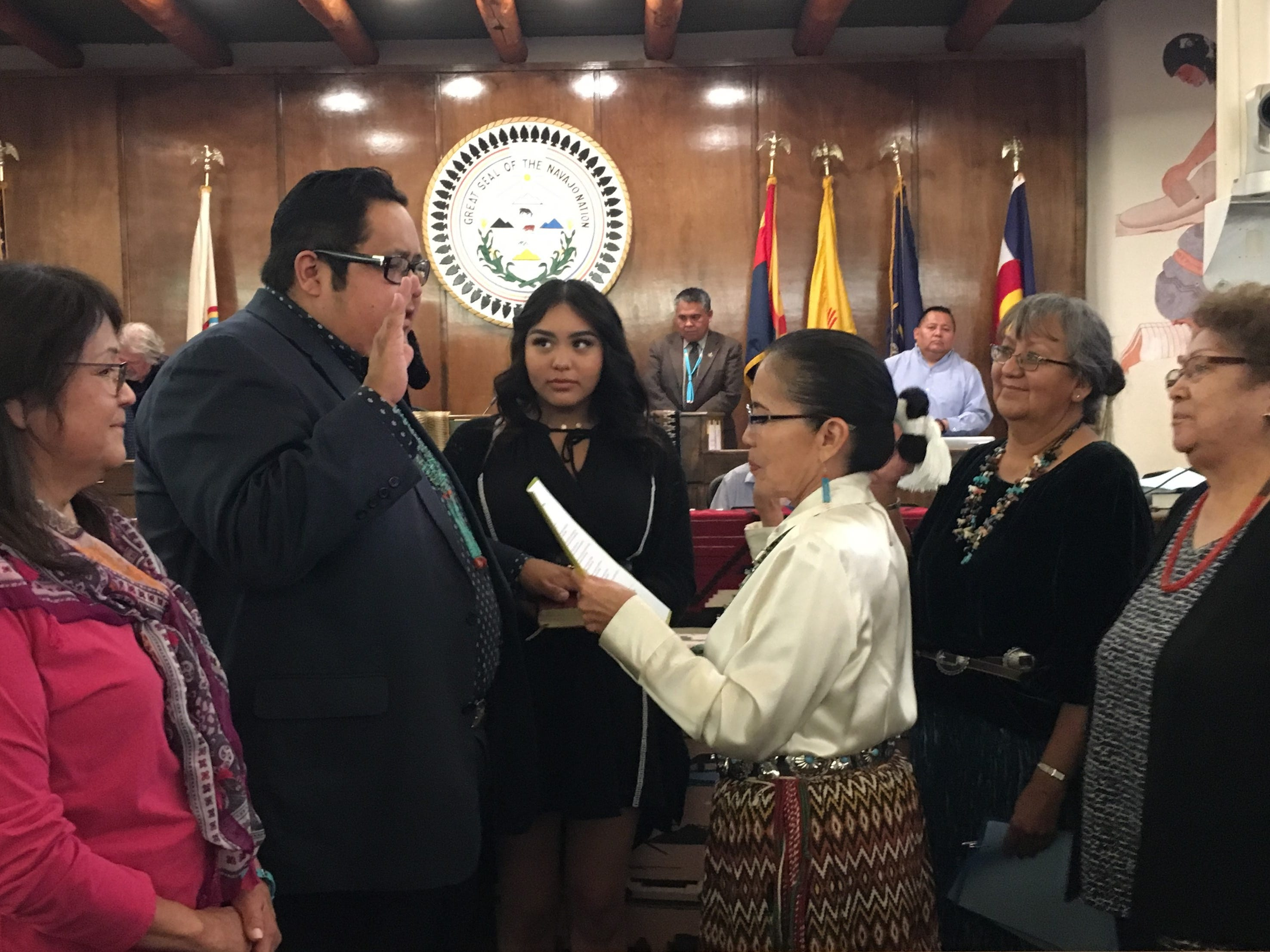 Delegate Seth Damon is sworn-in as speaker for the Navajo Nation Council on Monday at the council chamber in Window Rock, Ariz.