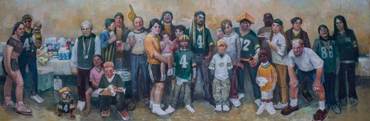 Li Hu created many works of art throughout his lifetime. His inspiration for his Packers fans painting came from observing Packers tailgates.