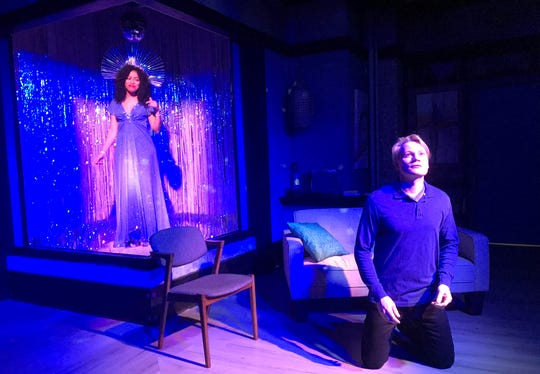 """Franceli Chapman, appearing as a vision of Diana Ross, and Paul David Story star in the Coachella Valley Repertory production of """"White."""""""