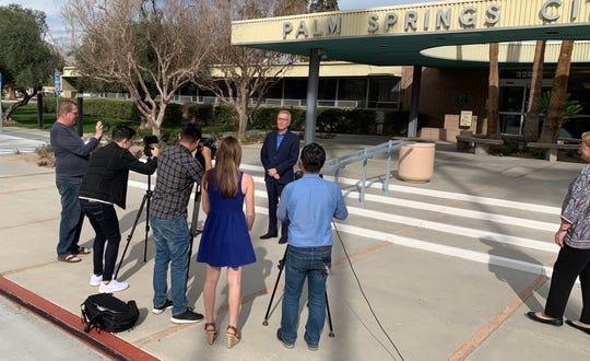 Members of the media interview Mayor Pro Tem Geoff Kors on Jan. 28, 2019 in Palm Springs, Calif.