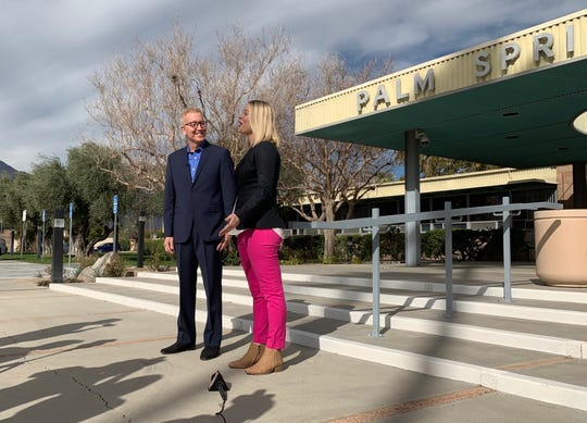 Palm Springs Mayor Pro Tem Geoff Kors and Councilmember Christy Holstege announced Kors will run to represent City Council District 3 in 2019, on Jan. 28, 2019 in Palm Springs, Calif.