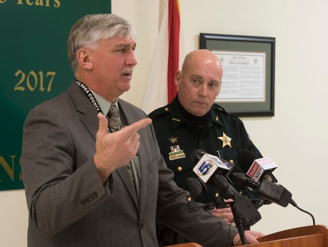 Santa Rosa County School Superintendent, Tim Wyrosdick,  and Sheriff Bob Johnson hold a press conference on Monday, Jan. 28, 2019,  to discuss the recent and current implementation of the school district's safety plans.
