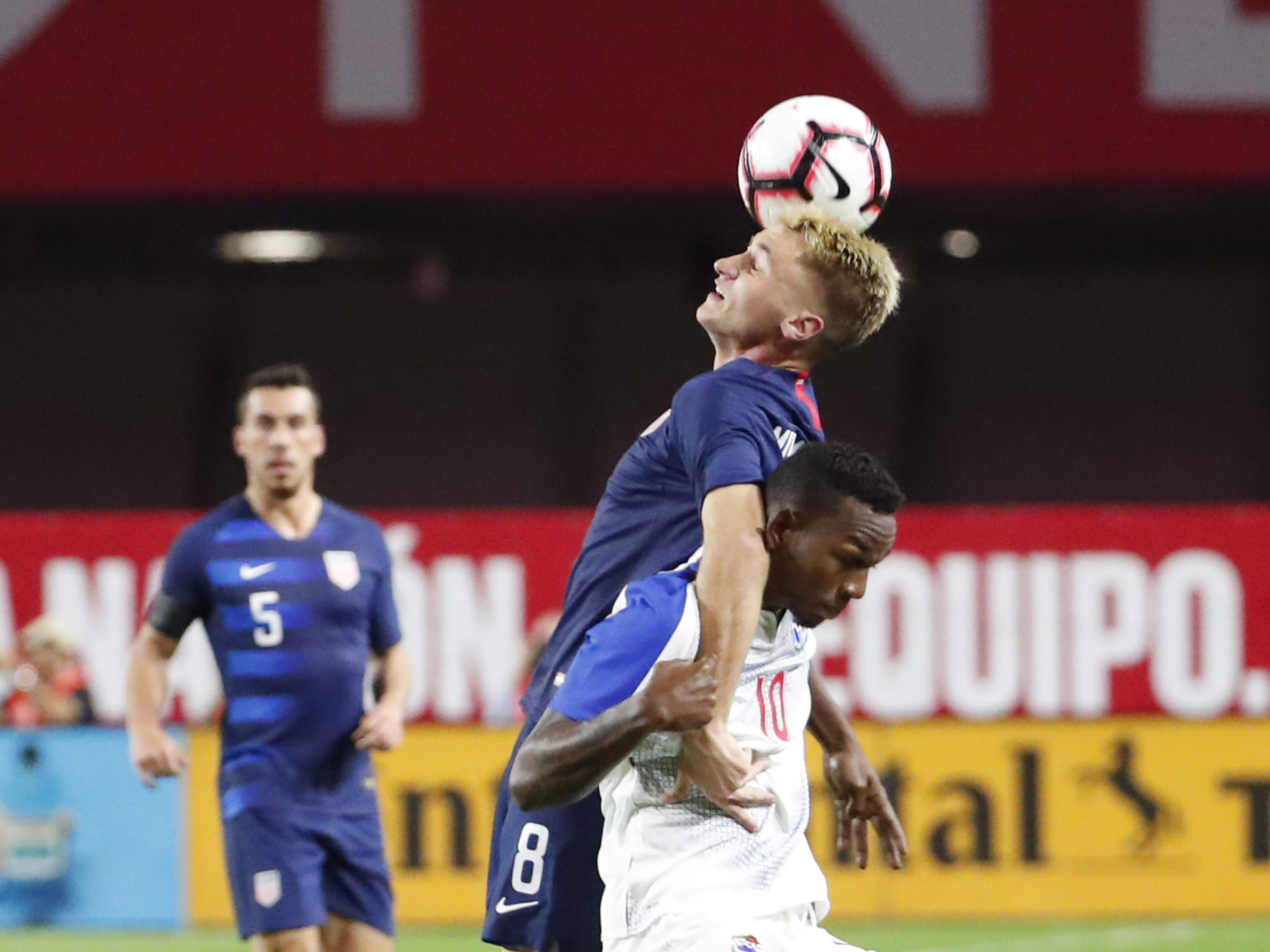 U.S. midfielder Djordje Mihailovic (8) gets tangled with ]Panama midfielder Omar Browne (10) during the first half of a friendly on Jan. 27, 2019 in Glendale, Ariz.