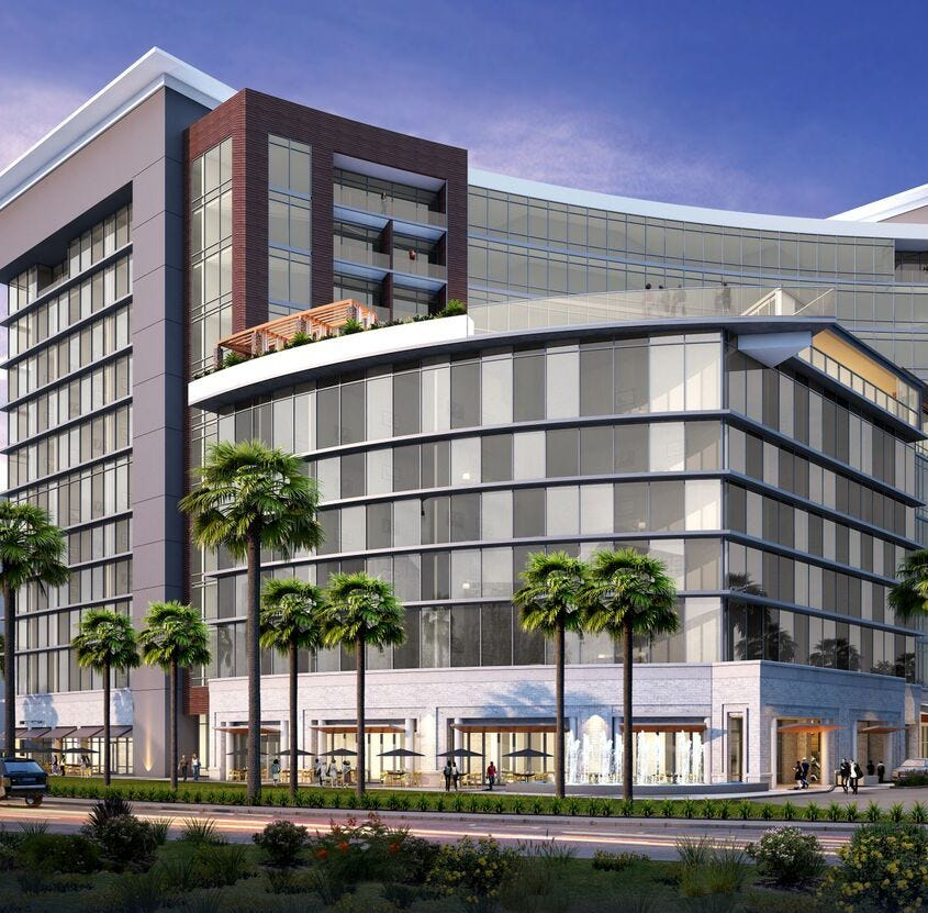 An artist's rendering shows the proposed new Caesars Republic Scottsdale hotel.