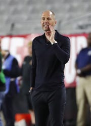 Gregg Berhalter instructs the U.S. during his first game as head coach at State Farm Stadium on Sunday.