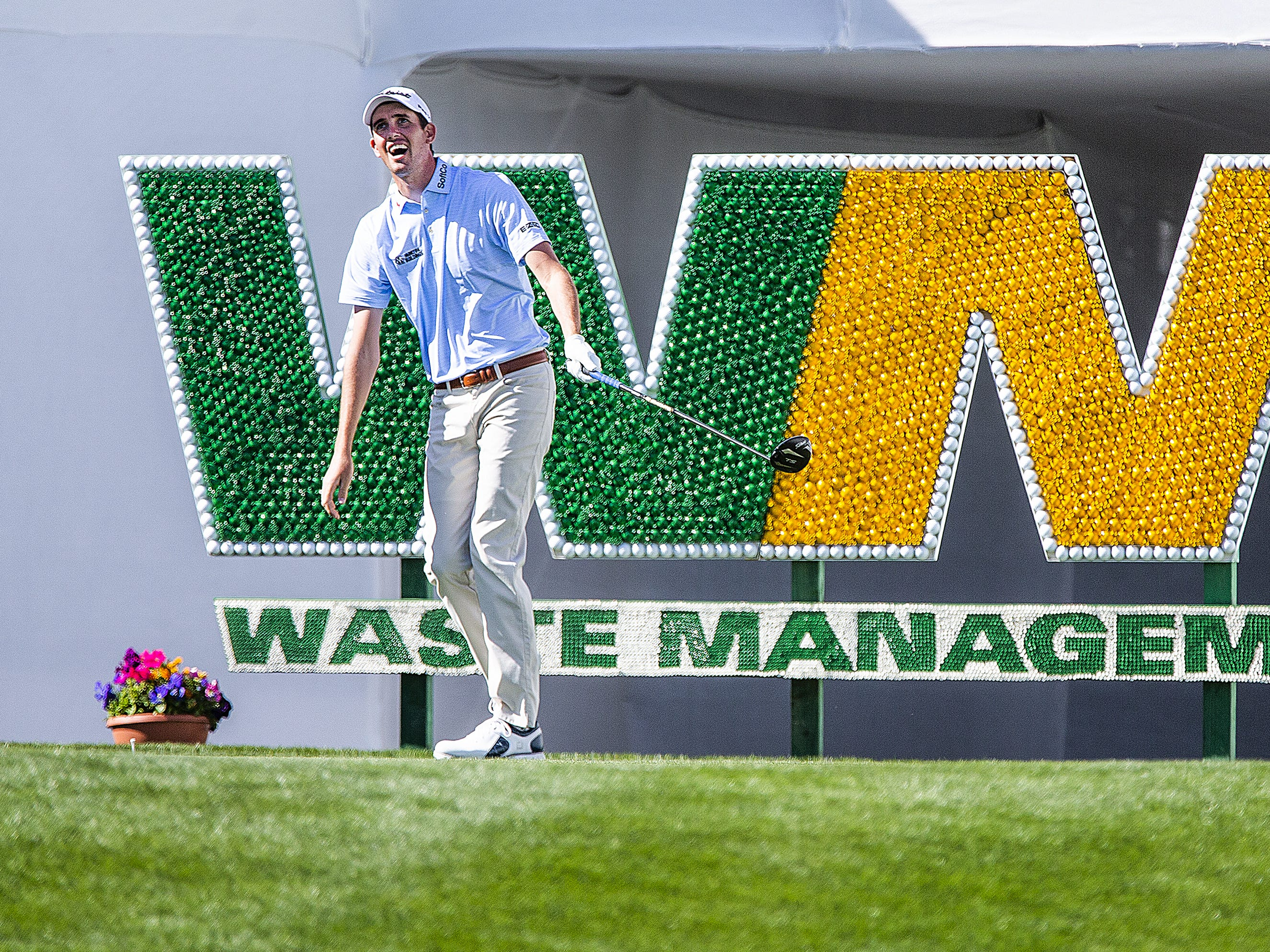 Chesson Hadley watches his shot off the 17th tee during the Kadima.Ventures Pro-Am at the Waste Management Phoenix Open at the TPC Scottsdale, Monday, January 28, 2019.