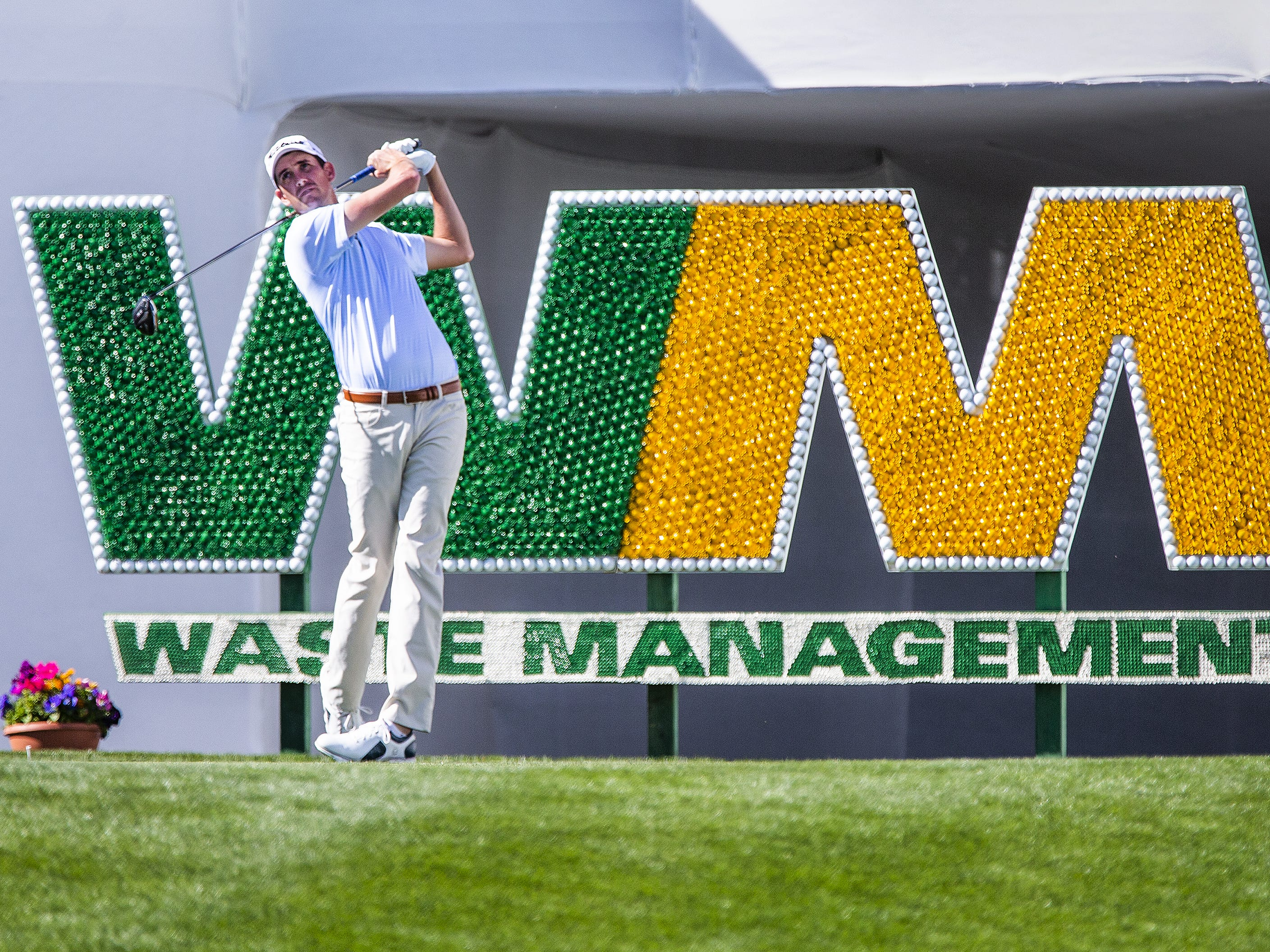 Chesson Hadley tees off on the 17th hole during the Kadima.Ventures Pro-Am at the Waste Management Phoenix Open at the TPC Scottsdale, Monday, January 28, 2019.
