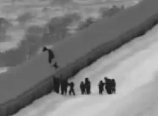A screenshot of a U.S. Customs and Border Protection video shows the moment a 3-year-old girl traveling with her mother and a group of asylum seekers fell 16 feet from the top of the border fence east of the San Luis port of entry near Yuma. The girl sustained minor injuries.