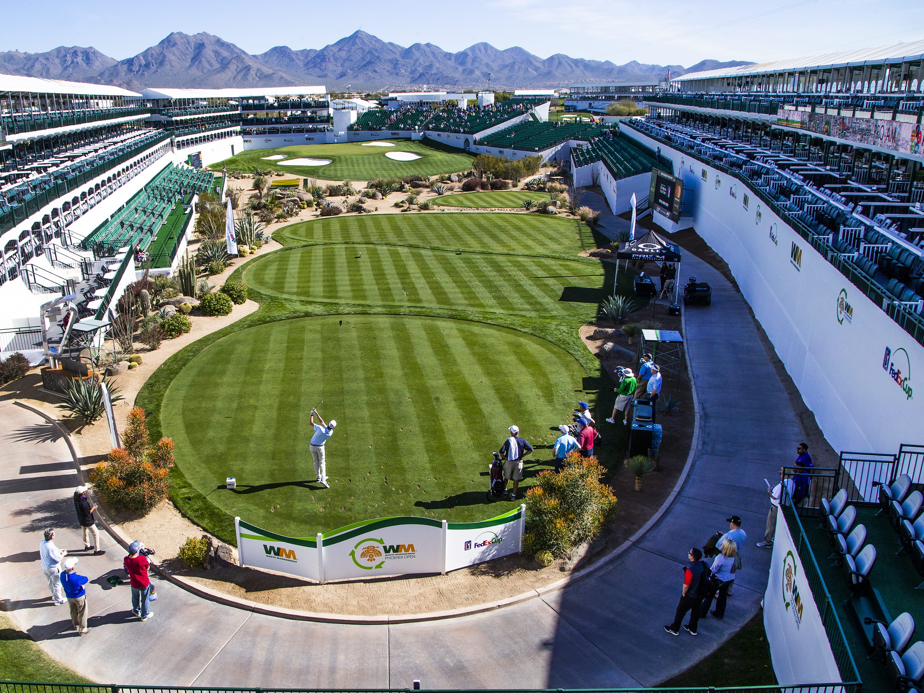 Chesson Hadley tees off on the 16th hole during the Kadima.Ventures Pro-Am at the Waste Management Phoenix Open at the TPC Scottsdale, Monday, January 28, 2019.