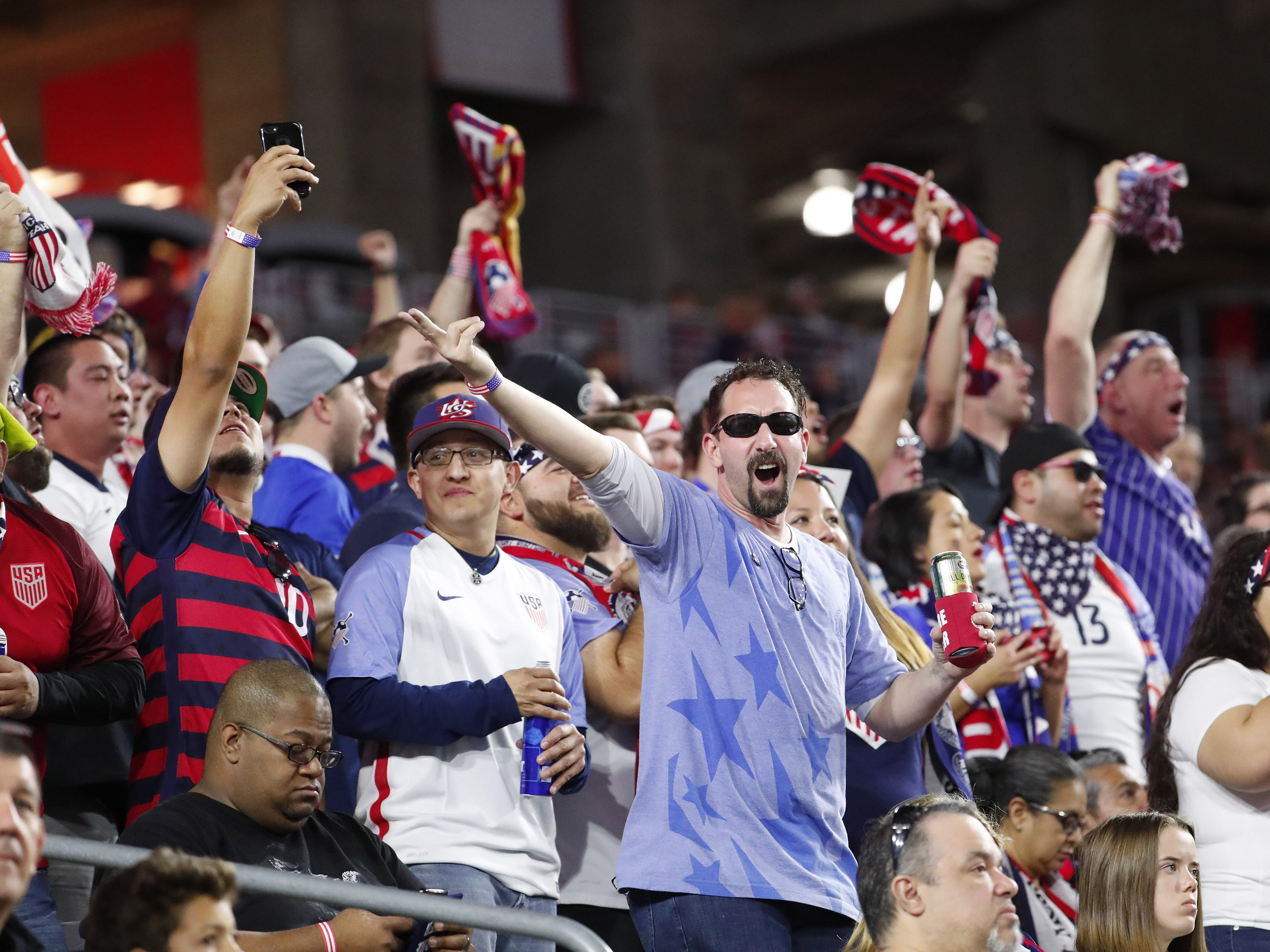 Fans cheer during a friendly between the U.S. Men's National Team and Panama Jan. 27 in Glendale, Ariz.