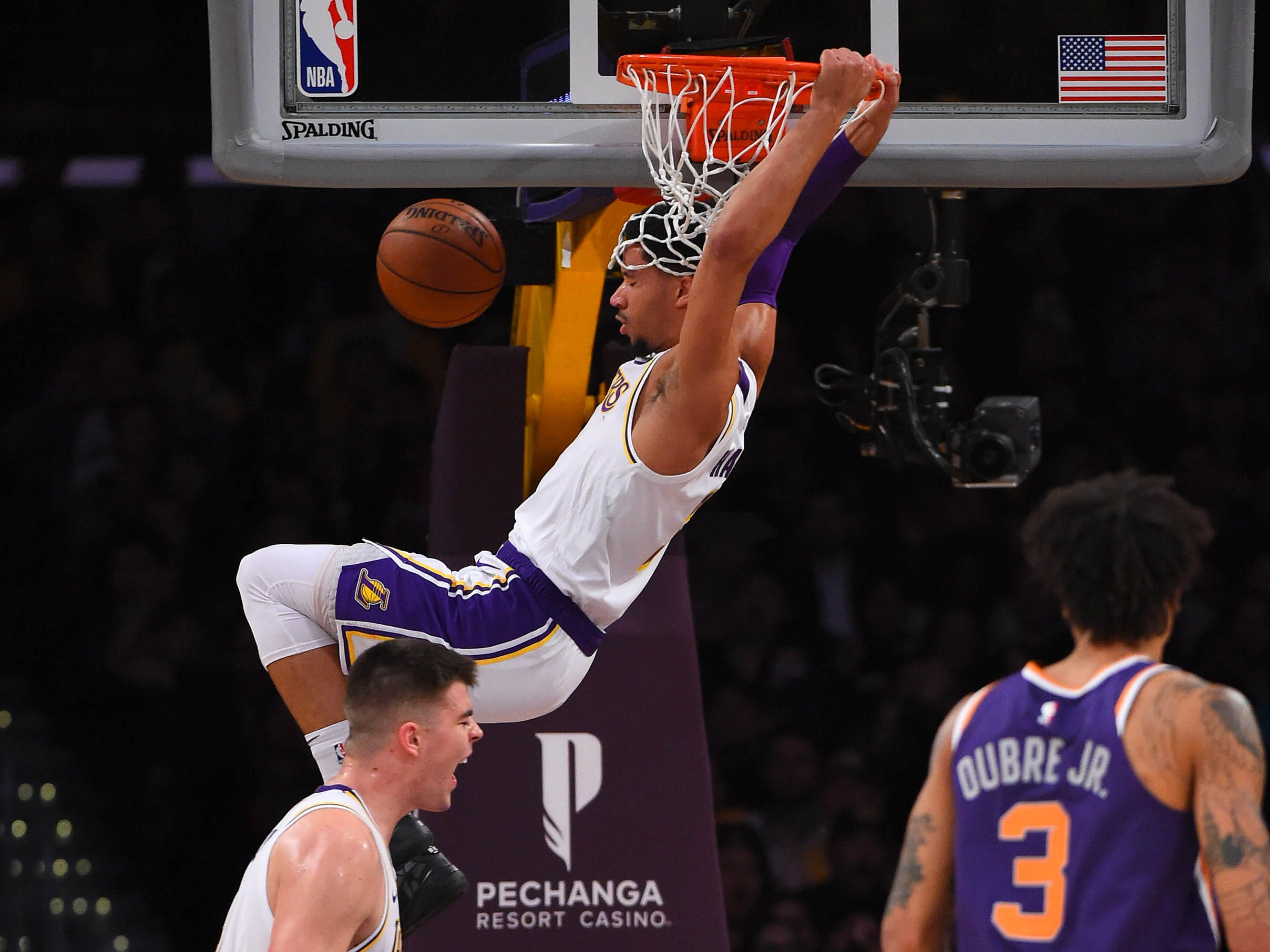 Jan 27, 2019: Los Angeles Lakers guard Josh Hart (3) dunks the ball in the first half of the game against the Phoenix Suns at Staples Center.