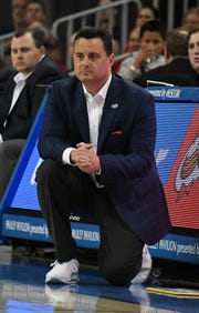 Arizona Wildcats head coach Sean Miller in the first half against the UCLA Bruins at Pauley Pavilion.