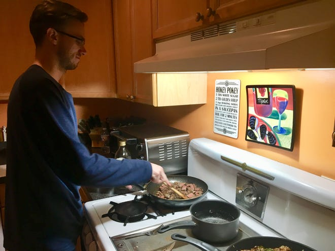 My college-age son was drawn out of his man cave by the smell of shallots sautéing or roasted Parmesan-crusted potatoes. He'd chop the vegetables on the cutting board, follow the directions for the red wine glaze, mostly to hurry things along.
