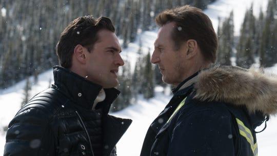 "In ""Cold Pursuit,"" Viking (Tom Bateman) confronts Nels (Liam Neeson)."