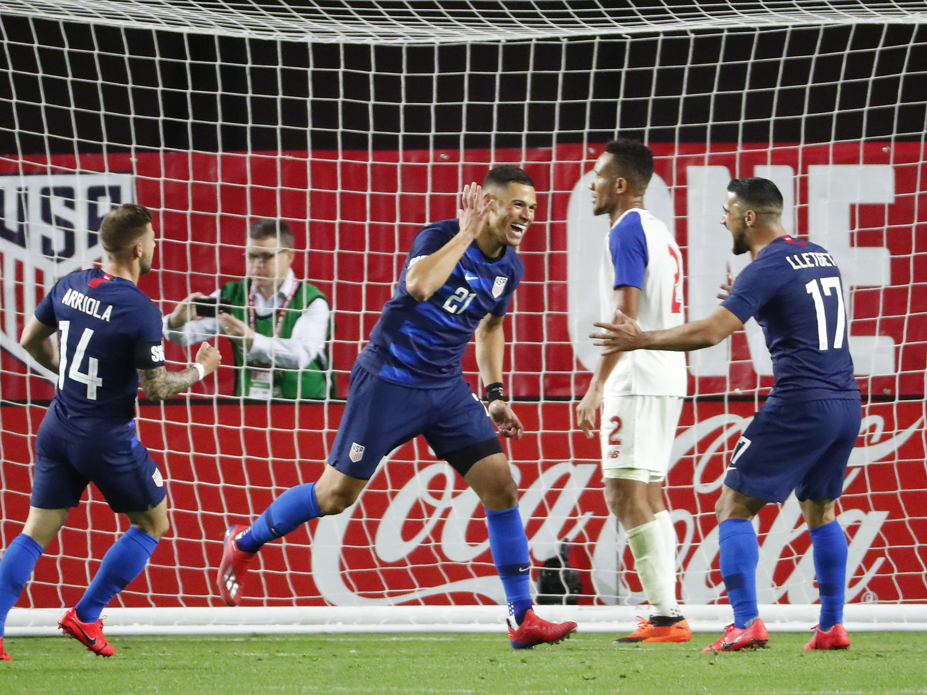 U.S. forward Christian Ramirez (21) celebrates after scoring against Panama during the second half of a friendly on Jan. 27, 2019 in Glendale, Ariz. The U.S. won 3-0.