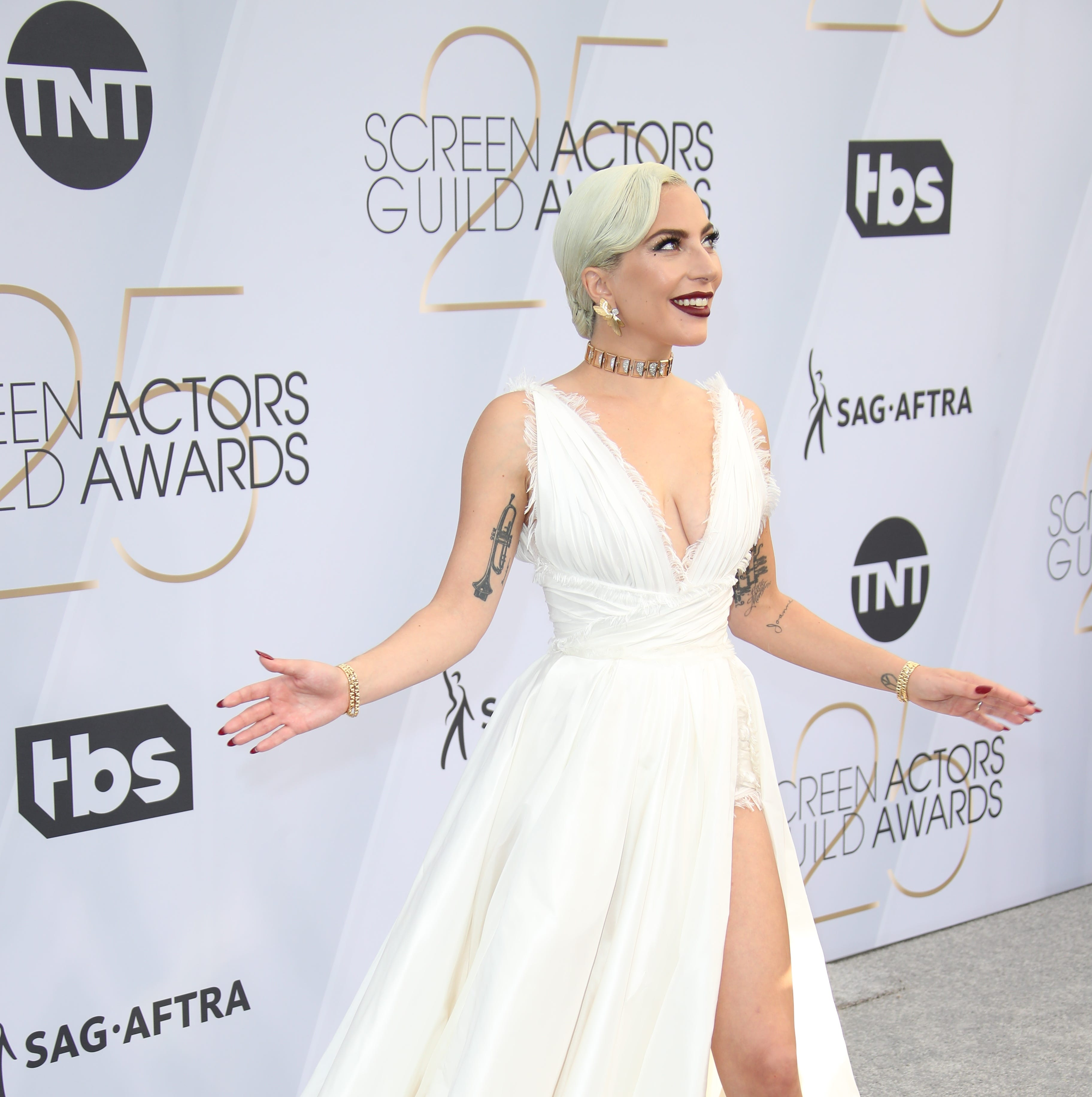 Lady Gaga arrives at the 25th Annual Screen Actors Guild Awards at the Shrine Auditorium.