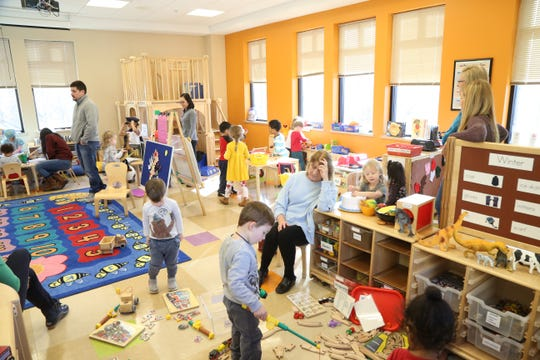 Preschooler learning center story time and guided play at Adriance Memorial Library in the City of Poughkeepsie on January 28, 2019.