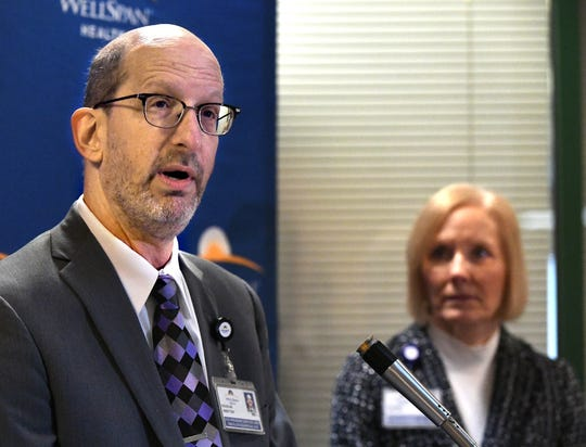 WellSpan Health Vice President of Oncology and Surgical Services Douglas Arbittier speaks along with president and CEO Roxanna Gapstur during a press conference at Apple Hill Medical Center announcing a $45 million expansion to the WellSpan York Cancer Center Monday, Jan. 28, 2019. Bill Kalina photo