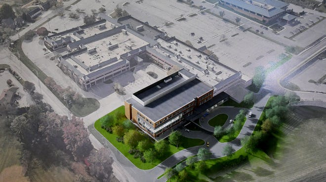 An artist's rendition shows the expanded WellSpan York Cancer Center on the Apple Hill Medical Center campus during a press conference at Apple Hill announcing a $45 million expansion to the center Monday, Jan. 28, 2019. Bill Kalina photo