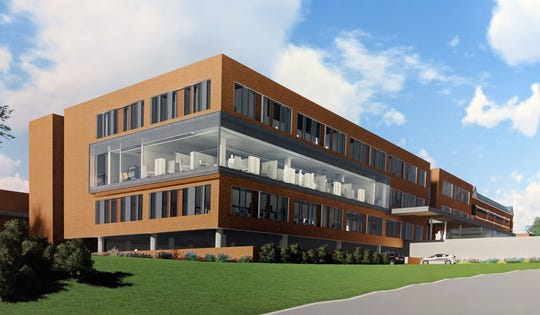 This is an artist's rendering of the $45 million expansion of the WellSpan Cancer Center that will add one floor, expand over a current parking area and provide parking beneath the building.