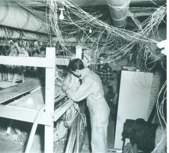 The intensity of the 1965 General Telephone fire combined with combustible ceiling and cable insulation melded a tangle of thousands of wires that had to be sorted, identified and tagged.