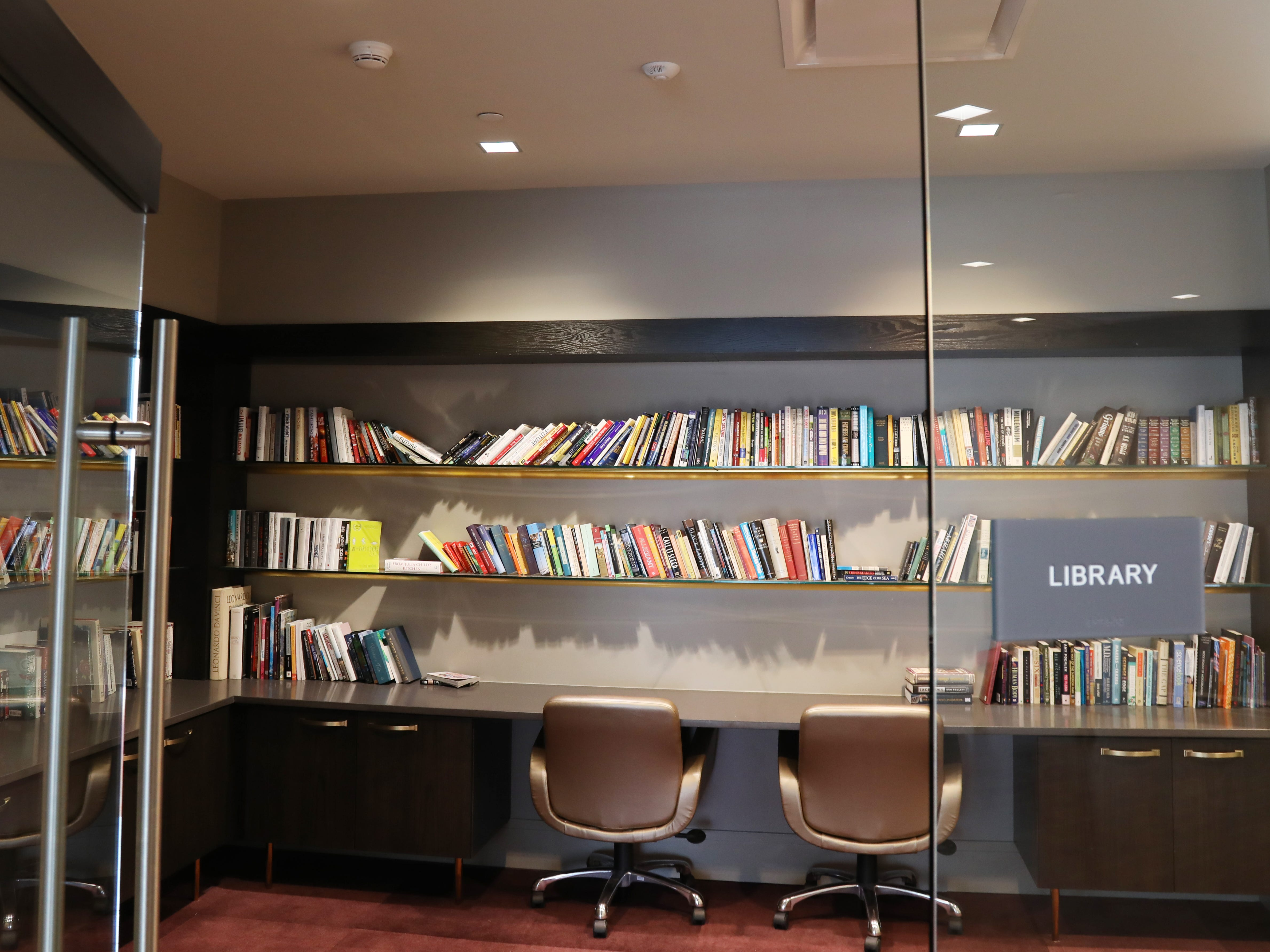 A common library at Spectra at Sibley Square in downtown Rochester.
