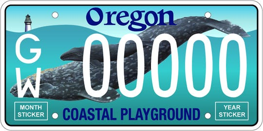 A new plate celebrating gray whales will be available Feb. 1 in Oregon.