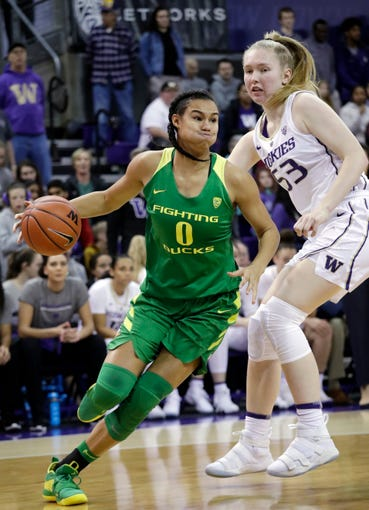 Oregon's Satou Sabally (0) drives past Washington's Darcy Rees in the first half of an NCAA college basketball game Sunday, Jan. 27, 2019, in Seattle.