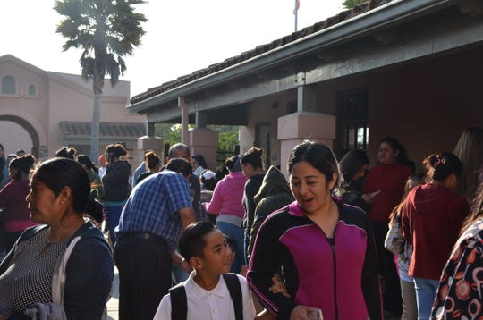 Parents drop off their children for the first day of classes at Jesse G. Sanchez on Aug. 16, 2018.