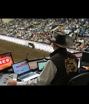 Josh Hilton works one of nearly 200 rodeos he does each year. He's worked the San Angelo Stock Show and Rodeo for the last 8 years.