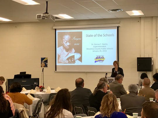 Wicomico County public schools Superintendent Donna Hanlin presents during the 2019 State of the Schools address at Parkside High School on Monday, Jan. 28, 2019.