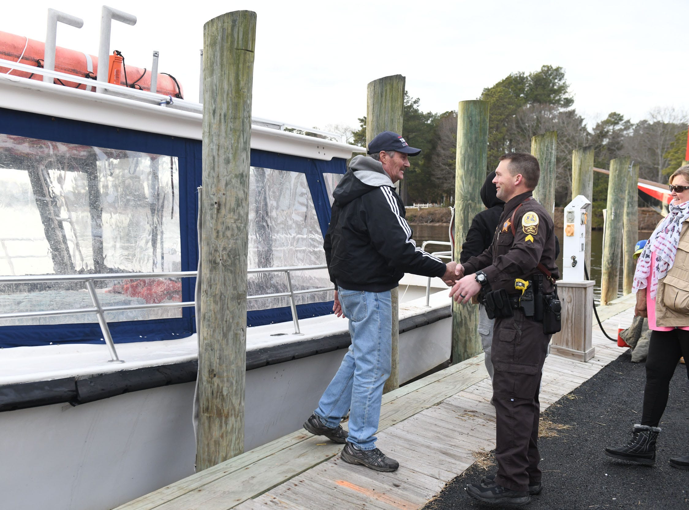 "Tangier Island Mayor James ""Ooker"" Eskridge thanks the volunteers who brought water donations to the Onanock Wharf on Monday, Jan. 28, 2019, to help the residents after the main watermain broke on Sunday."
