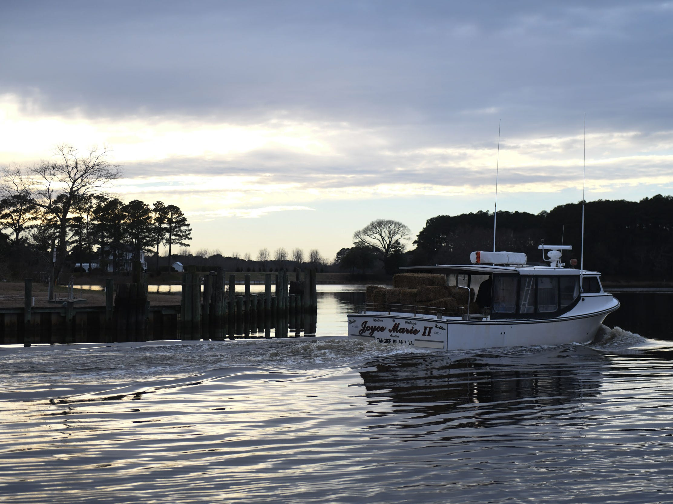 Joyce Marie II heads to Tangier Island after collecting water and hay donations on Monday, Jan. 28, 2019.