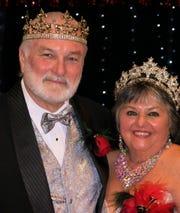 Krewe Elders King XXI Doug Rivet and Queen Connie Rivet at Elders Grande Bal XXI.