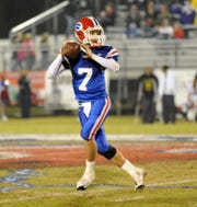 Evangel's QB David Dee Duron (7) during a 2009 game against Calvary at Evangel Christian Academy in Shreveport