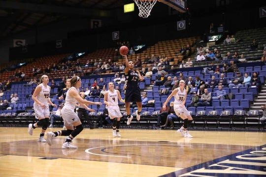 Vishe' Rabb of Augustana goes up for a basket Sunday at the Arena against Minnesota State