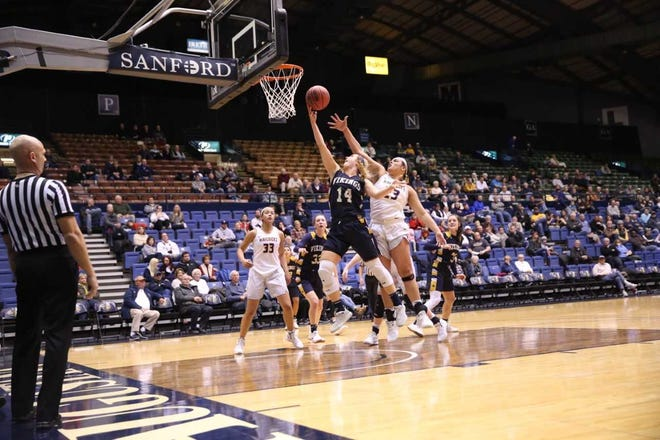 Abby Hora of Augustana scores a layup Sunday against MSU-Mankato at the Arena
