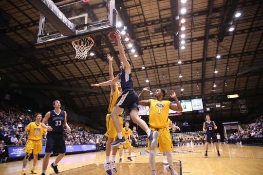 Augustana's Michael Schaefer goes for a basket in Sunday's loss to MSU-Mankato at the Arena