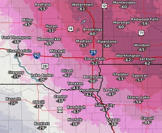 Potential wind chill values for southeast South Dakota on Wednesday, Jan. 30, 2019.