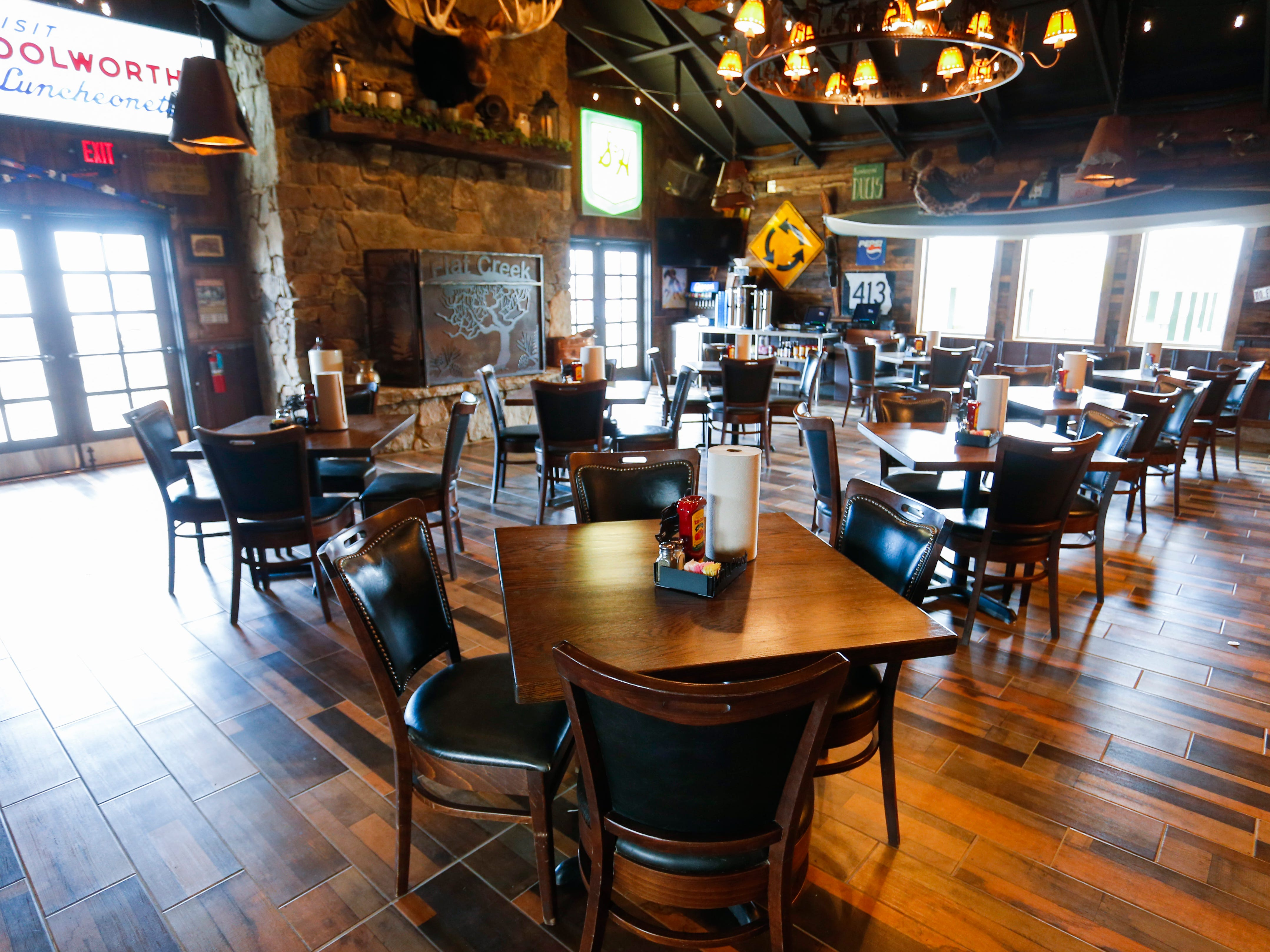A main dining room at the new location of Flat Creek restaurant in Republic on Monday, Jan. 28, 2019.