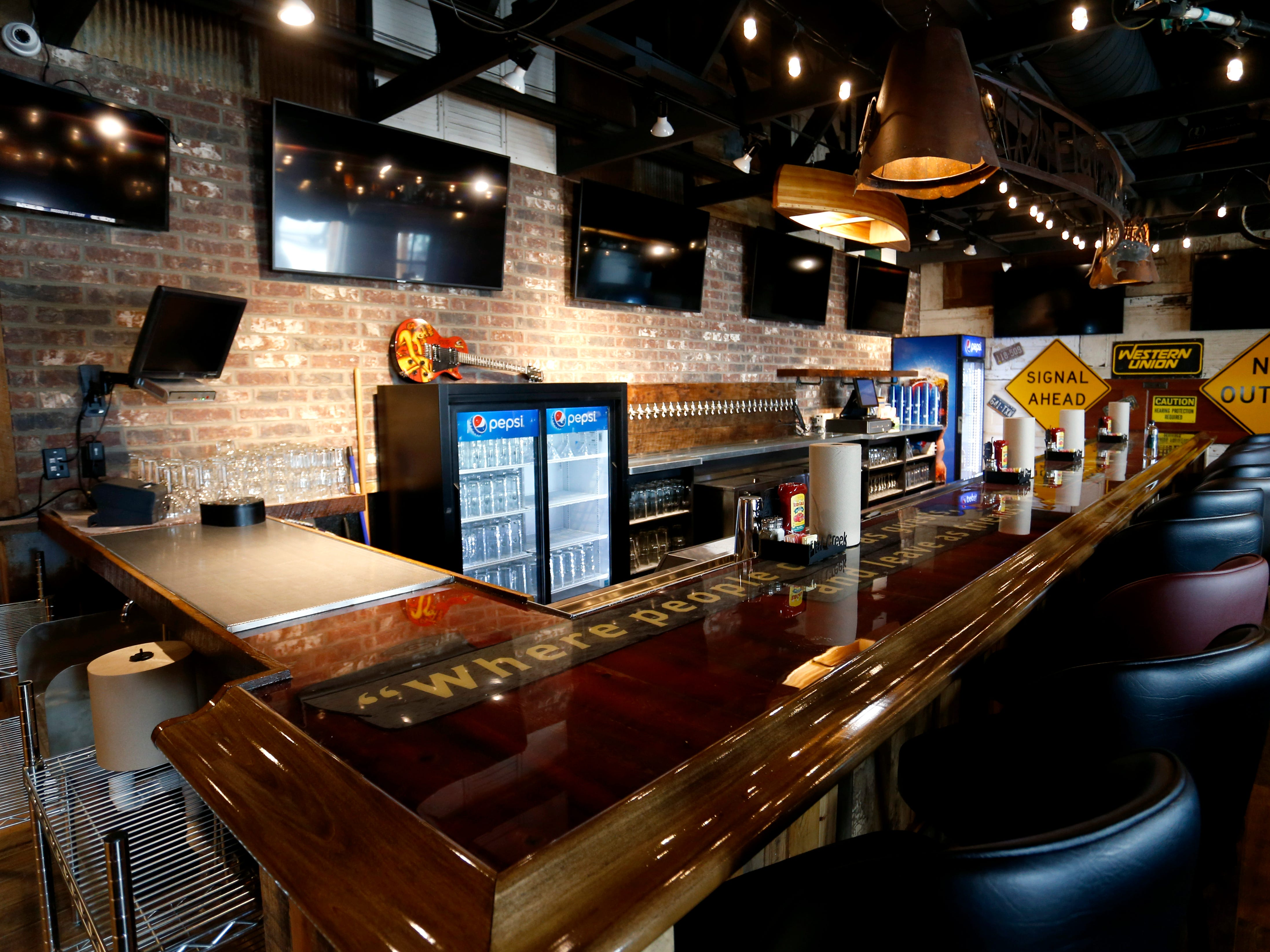 A bar area with 30 beer taps at the new location of Flat Creek restaurant in Republic that opens next week.
