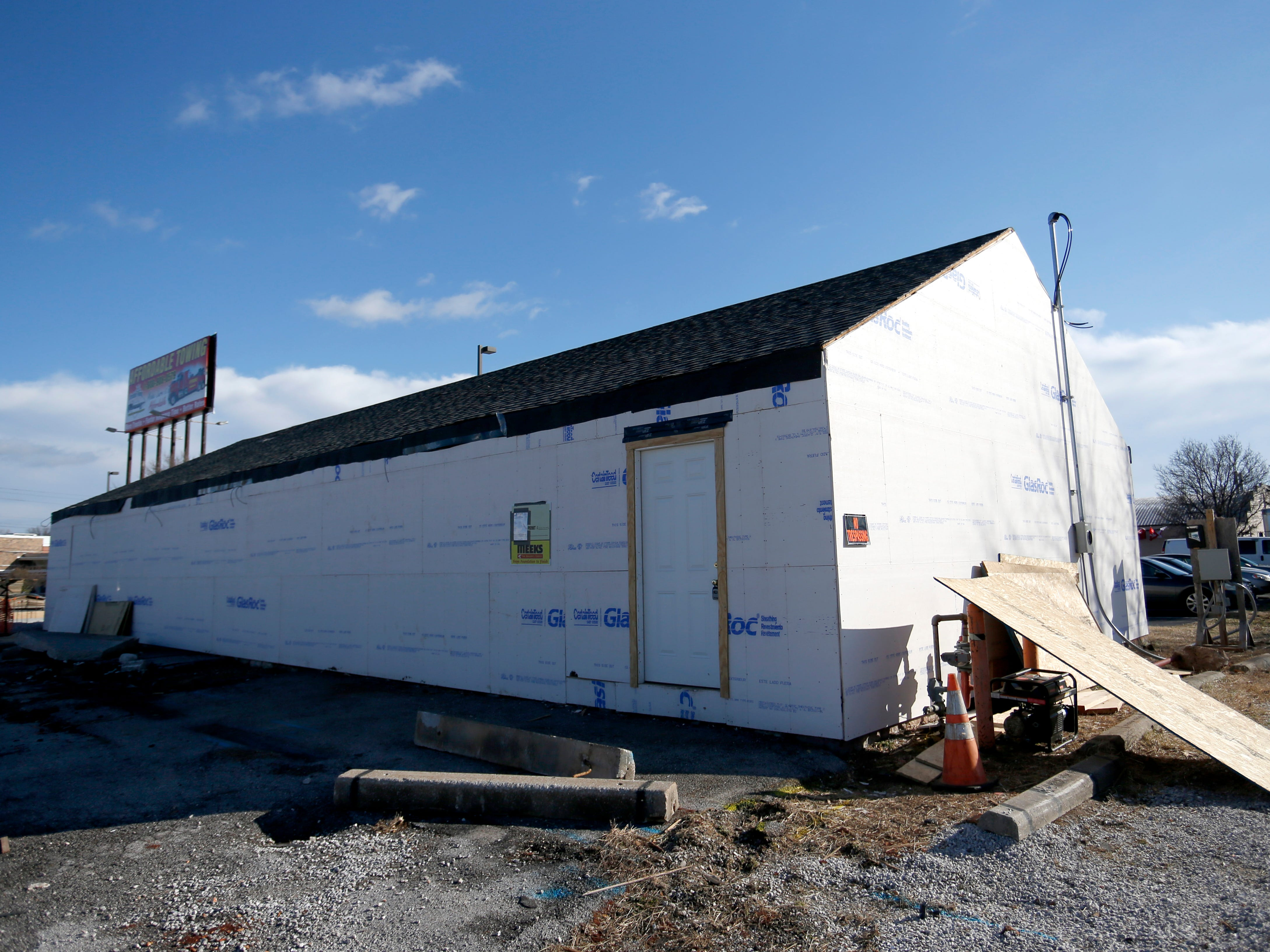 Construction at the former Aunt Martha's Pancake House.